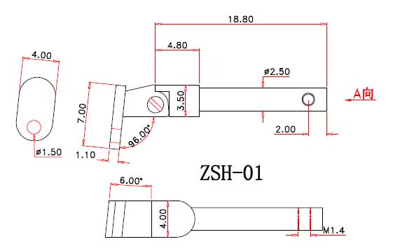 drawing of spring hinge for wood sunglasses ZSH-01