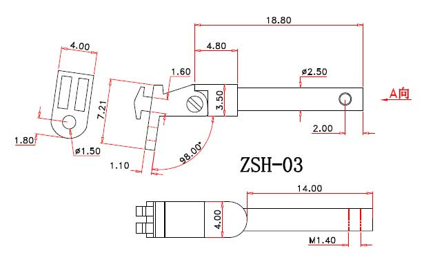 drawing of spring hinge for wood sunglasses ZSH-03