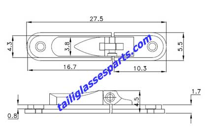 drawing of TSH-07,spring hinges for aluminum glasses frame